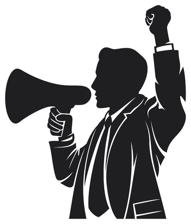 loud speaker: man speaking in megaphone  man speaks through the megaphone, man with a megaphone, businessman is using a megaphone  Illustration