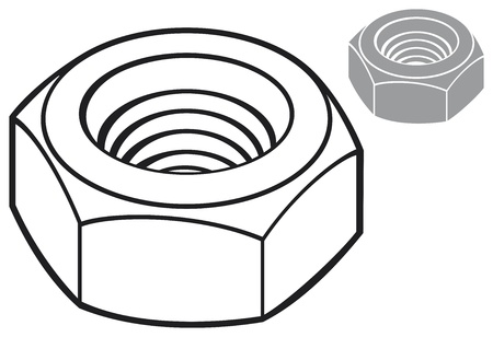 hardware configuration: nut  metal nut, screw nut, mechanical nut  Illustration