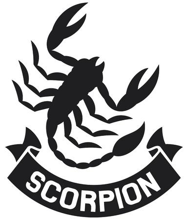 escorpio: escorpión escorpión etiqueta de símbolo