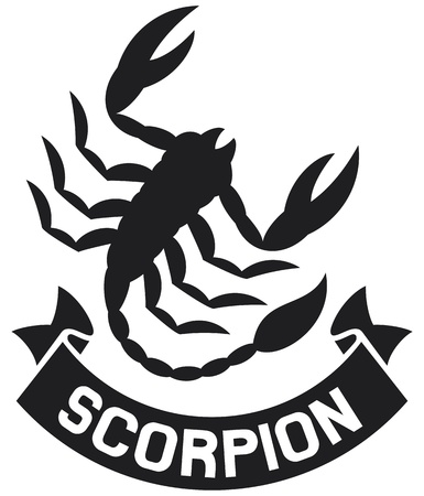 scorpio: scorpion label  scorpion symbol  Illustration