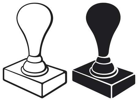 seal stamper: black stamp isolated on white background  rubber stamp, office stamp  Illustration