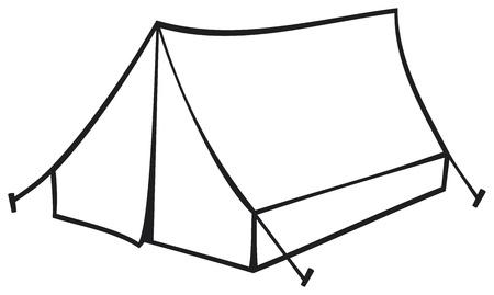 Tienda de campaña turística para viajar y acampar ilustración vectorial de una tienda de campaña