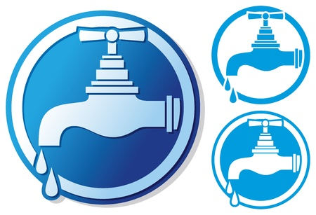 economize: water tap symbol  water faucet sign, dripping tap icon, faucet tap with water drop