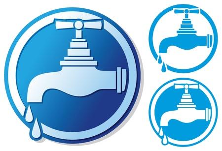 loodgieterswerk: waterkraan symbool water kraan teken, druppelende kraan pictogram, kraan van de kraan met een druppel water