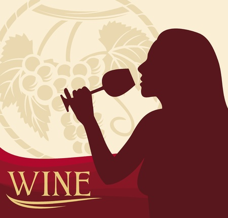 woman with wine glass  wine design, woman holding a glass of wine, woman drinking wine  Stock Vector - 18661665