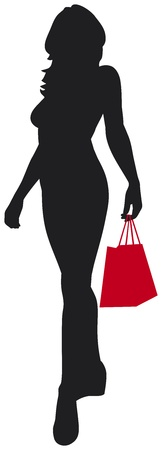 woman silhouette with shopping bag Stock Vector - 18660596