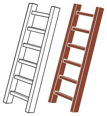 rung: illustration of a wooden ladder Illustration
