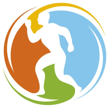 moving activity: abstract runner - healthy lifestyle icon  marathon runner, running sportsman, athletic man running, healthy man running, health concept icon
