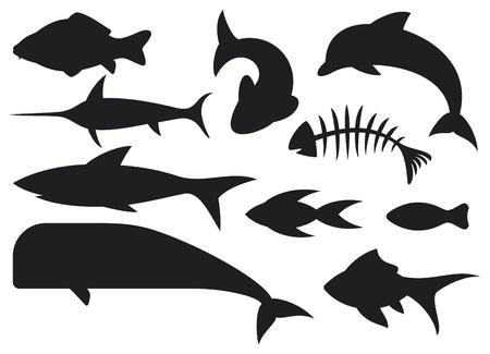 bone fish: fish icons set  dolphin, fish bone, carp fish, shark, whale, swordfish, stylized fishes  Illustration