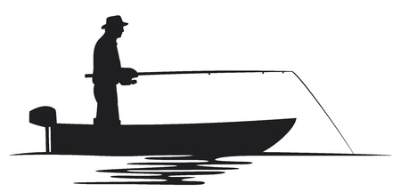 angling rod: fisherman in a boat silhouette  fisherman silhouette, fishing design, fishermen in a boat fishing