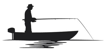 barca da pesca: pescatore in una barca pescatore silhouette silhouette, disegno pesca, i pescatori in una barca da pesca