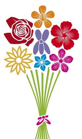 bunch flowers: bouquet of flowers Illustration