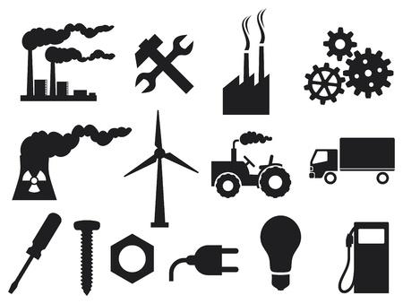 powerplant: industrie icons collection stekker, schroevendraaier, industriële installaties, kerncentrales, kerncentrale, groeiende versnellingen, gloeilamp, metalen moer, tractor, vrachtwagen, moersleutels en hamer Stock Illustratie