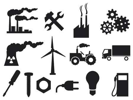 eclectic: industry icons collection  power plug, screwdriver, industrial plant, nuclear power plant, nuclear power plant, growing gears, light bulb, metal nut, tractor, truck, wrenches and hammer  Illustration