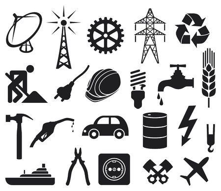 industry icons collection  power plug, oil barrel, hammer, construction workers hard hat, power line, fuel pump, water tap, radio antenna, lightning symbol, energy saving light bulb Stock Vector - 18787189