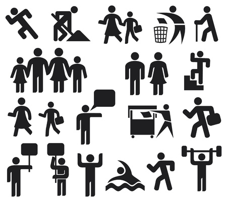 man icons  man symbol pictogram, happy family icon, father, mother, grandfather, children, old man, woman, parent together icon, wc icon, icon male and female, recycling sign, man and banner  Vector