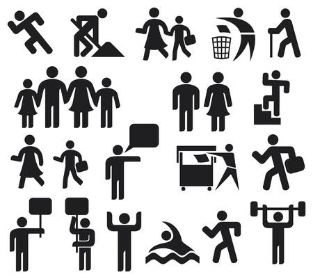 simbolo uomo donna: uomo icone simbolo uomo pittogramma, icona felice famiglia, padre, madre, nonno, bambini, vecchio, donna, genitore insieme icona, wc icona, icona maschile e femminile, il riciclaggio segno, l'uomo e la bandiera
