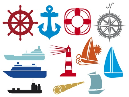 anchored: nautical and marine icons  boat and ship icons set, stylized yacht, lifesaver, anchor, sailboat symbol, lighthouse icon, compass, marine travel icons, spyglass