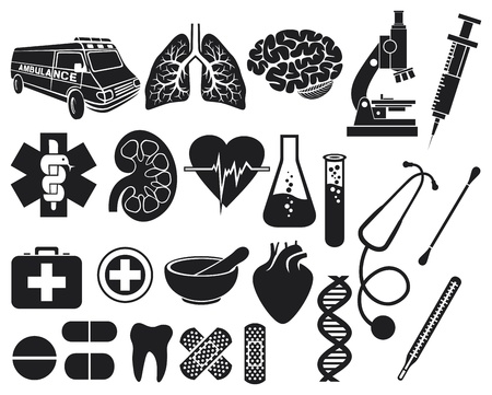 medical icon set  kidney, human lungs, pharmacy snake symbol, first aid medical sign, pills illustration, tooth, stethoscope, brain, microscope, syringe, DNA strand, heart, first aid, ambulance van Stock Vector - 18787193