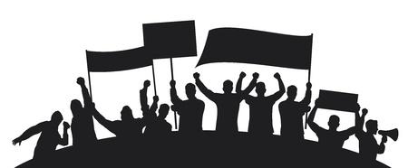 frappe: beaucoup de gens furieux qui protestaient contre un groupe de personnes protestant, protestation, drapeau holding de l'homme, l'homme tenant transparent, d�monstrateur, homme de protestation, manifestations, protestations, d�monstrateur, voyou, fan Illustration
