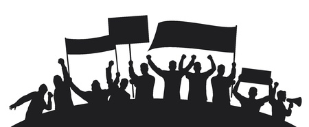 lots of fuus people protesting  a group of people protesting, protest, man holding flag, man holding transparent, demonstrator, protest man, demonstrations, protest, demonstrator, hooligan, fan  Stock Vector - 18787177