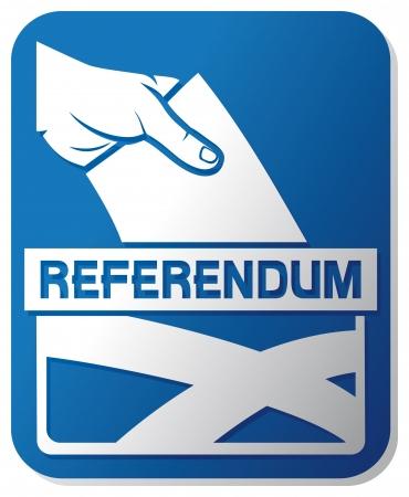 voting ballot: refer�ndum sobre la independencia escocesa - ilustraci�n de una urna con la bandera de la mano escocia poniendo una papeleta de votaci�n en una ranura de la caja, la mano del hombre s abajo de la papeleta en la urna, la votaci�n a mano Vectores