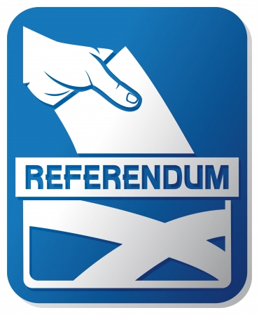 scottish independence referendum - illustration of a ballot box with the flag of the scotland  hand putting a voting ballot in a slot of box, man s hand down the ballot in the ballot box, hand voting  Vector