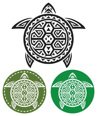 aquatic animal: tribal tattoo  turtle abstract turtle, stylized turtle  Illustration