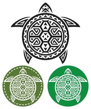 green sea turtle: tribal tattoo  turtle abstract turtle, stylized turtle  Illustration