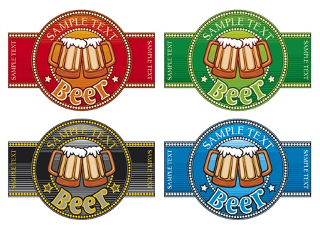 draft beer: beer label set (Set of 4 labels)