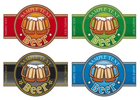 and draft beer: beer label set (Set of 4 labels)