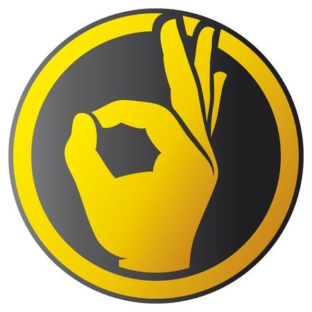 Menselijke goed de hand knop - pictogram (OK handsymbool)