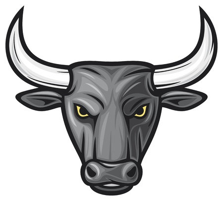 toros: cabeza de toro negro (negro toro) Vectores