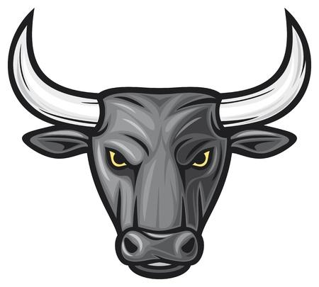 toro: testa di toro nero (toro nero) Vettoriali
