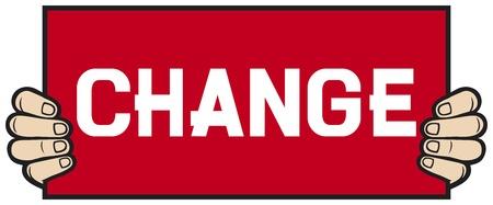 hand held a banner - change Stock Vector - 18787557