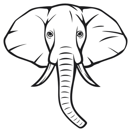 elephant�s: cabeza de elefante (elefante africano) Vectores
