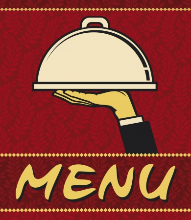 hot plate: Restaurant menu design (restaurant icon with tray of plate in hand)