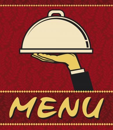 Restaurante de diseño del menú (icono de restaurante con la bandeja de la placa en la mano)