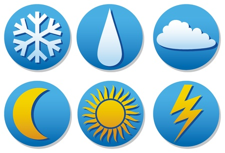Weather icons (weather buttons) Stock Vector - 18787565