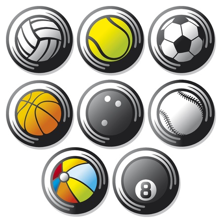 sport ball icons  beach ball, tennis ball, american football ball, football ball - soccer ball, volleyball ball, basketball ball, baseball ball, bowling ball, sport balls buttons  Stock Vector - 19067848