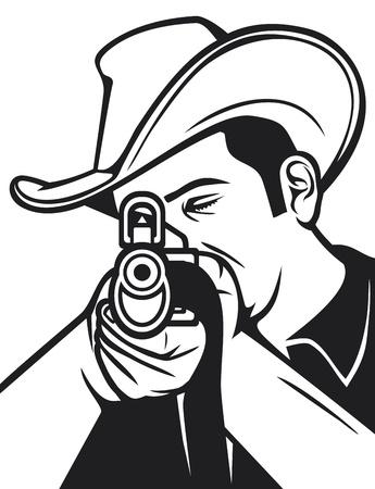 cowboy shooting a rifle  cowboy pointing his rifle, cowboy aiming his rifle