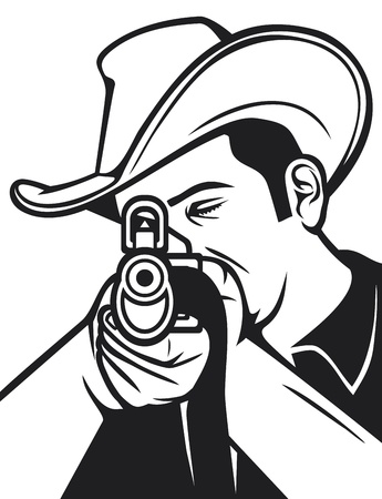 cowboy shooting a rifle  cowboy pointing his rifle, cowboy aiming his rifle  Vector