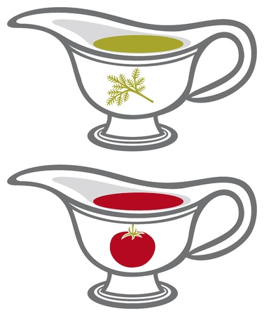 sauce gravy or sauce boat with cream Illustration