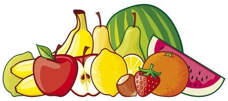 fruited: illustration of a group of fruits  red apple, strawberry, pear, lemon, green lemon, orange, watermelon, banana, hazelnut