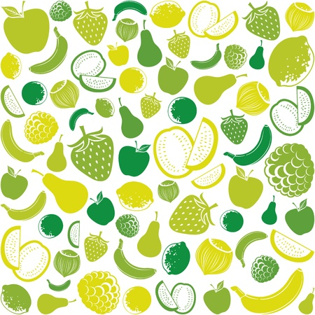 seamless pattern with fruit  fruits background, seamless fruits pattern, fruits seamless background, apple, strawberry, pear, lemon, orange, watermelon, banana, hazelnut  Vector