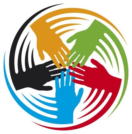 manos unidas: trabajo en equipo icono junto icono de las manos, las manos símbolo de conexión, las personas icono conectados