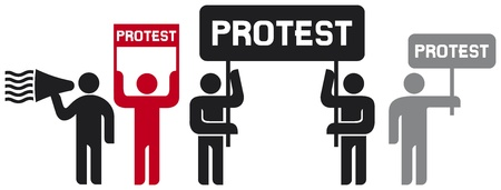 people protesting icons  man and banner, protest icon, man holding flag, man holding transparent, demonstrator, protest man, demonstrations, protest, demonstrator icon, man speaking in megaphone icon  Vector