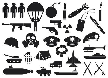 militaire pictogrammen mes, pistool, bom, kogel, gasmasker, zwaarden, helm, kapitein hoed, explosie, dynamiet, tent, machinegeweer, militaire baret, gepantserde personeel vervoerder, vliegdekschip, slagschip Vector Illustratie