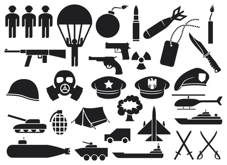 military icons  knife, handgun, bomb, bullet, gas mask, swords, helmet, captain hat, explosion, dynamite, tent, machine gun, military beret, armoured personnel carrier, aircraft carrier, battleship  Vector