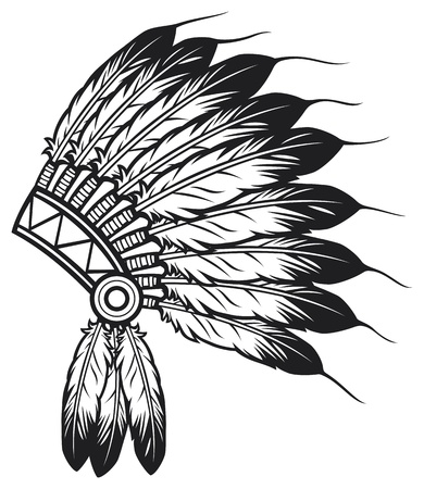 indian chief headdress: native american indian chief copricapo indiano mascotte capo indiano tribale copricapo, copricapo indiano Vettoriali